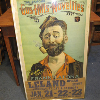 Vintage Advertisement Gus Hill Novelties Frank Latona Old Poster Unknown - Advertising