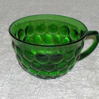 Bubble Pattern Green Glass Cups - Glassware