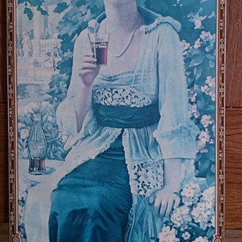 1921 Cardboard & Metal Coca Cola Advertising Display Sign is called Woman Autumn..Navy Girl
