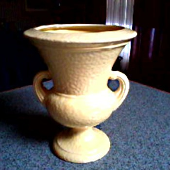 Norton Pottery Two Handle Urn /Pale Yellow Pebble Finish Glaze/ Circa 1940's-50's