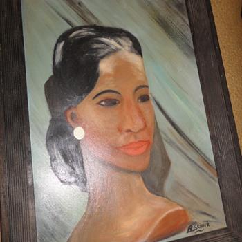 Portrait of Lady Oil on Board - Visual Art
