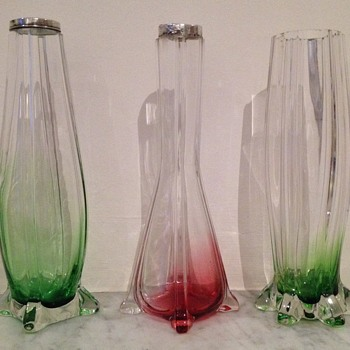 3 submerged, graduated buttress vases - Art Glass