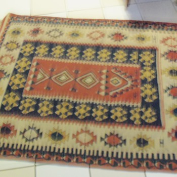 Antique Native American or Mexican Geometrical Hand Woven Rug Textile