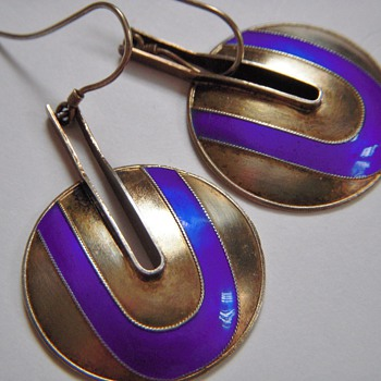 Beautiful Mid Century Sterling Earrings With Enamel~Stamped S925~Scandinavian? - Fine Jewelry