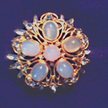 Impressive Large Faux Moonstone Brooch/ Unmarked and Unknown Age