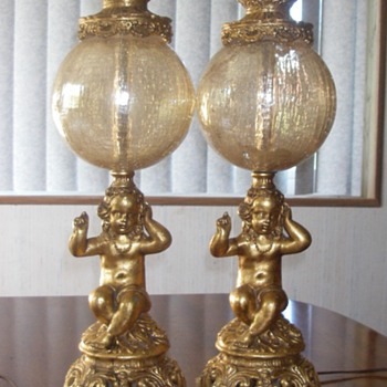 pr of Vintage cherub table lamps with crackled glass globes