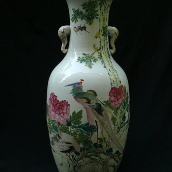 late Qing Qianjiang Floor Vase by  Zhu Shao Quan  - Asian