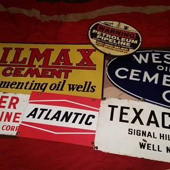 Oil field porcelain signs.