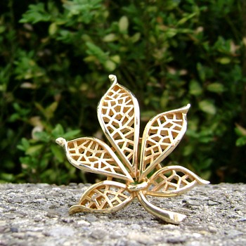 Trifari Leaf Brooch - Costume Jewelry
