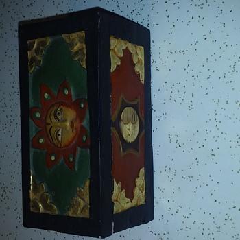 Wood carved Sun and Moon / Yin Yang Trinket Box - Folk Art