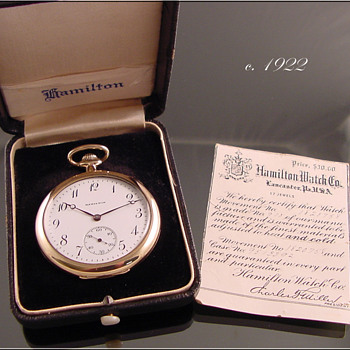 Hamilton 17-Jewel Pocket Watch With Box & Papers c.1922 - Pocket Watches