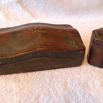 Italian leather cigarette box and match holder - Tobacciana