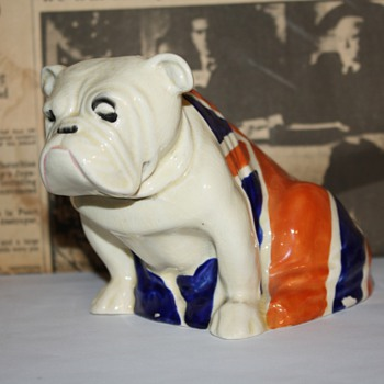 Royal Daulton Winston Churchill Bulldog with Union Jack. Early 1940's. - Figurines
