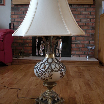 Vintage lamp, bronze and ceramic base