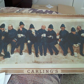 Nine Pints of The Law, Carling Brewery Co. about 1 ft x 2 ft - Signs