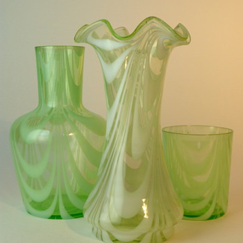 Uranium glass night carafe and vase - Art Glass
