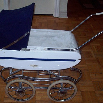 Vintage Gendron METAL Baby Buggy Doll Stroller Carriage Amazing detail - Dolls