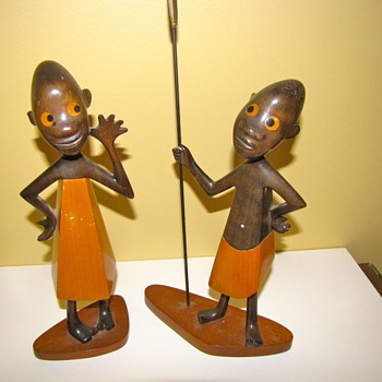 Pair of Rare Art Deco Hagenauer African Children