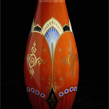 Glass or Porcelain Vase? Unidentified red cross inside oval mark. - Art Pottery