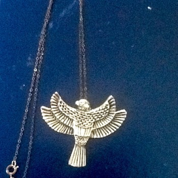 Vintage brass eagle necklace