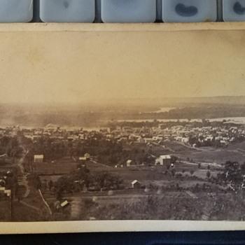 CDV Bird's Eye View of a river front town