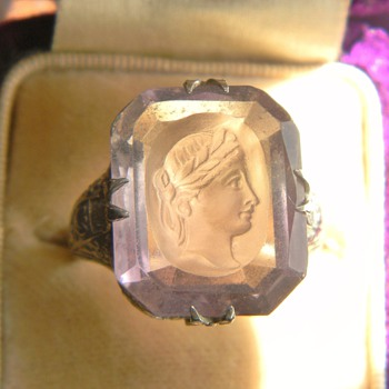 Art Deco Ascher Cut Rose De France Amethyst Intaglio 14k Filigree Ring