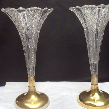 A pair of antique cut glass vases