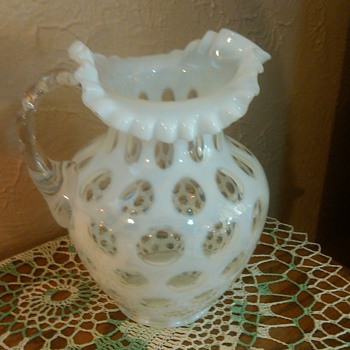 Fenton French Opalescent Coin-Dot Large Pitcher with Ice Lip - Glassware