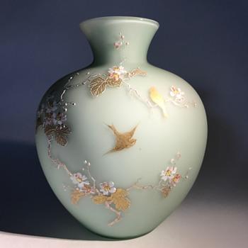 Josef Riedel Light Green Satin Enameled Vase C1880? - Art Glass