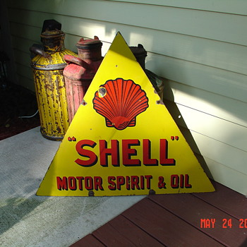 Shell Motor Spirit & Oil...Double Sided Porcelain Sign...Three Colors...1920's - Petroliana