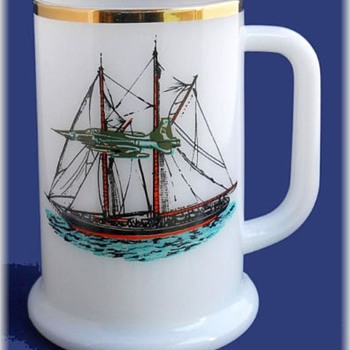 Milk Glass Tankard Mug -- With Boat  and fighting Jet Plane