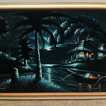 Vintage Stretched Black Velvet Cloth Oil painting SIGNED - Visual Art