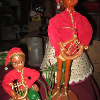 Cute pair of vintage elves - Christmas