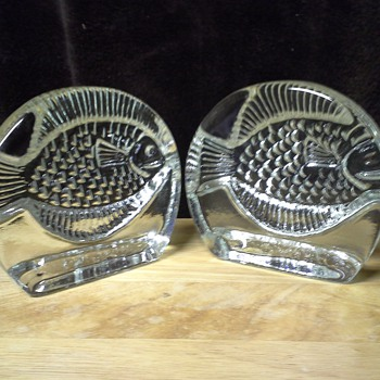 Blenko Fish Bookends - Art Glass
