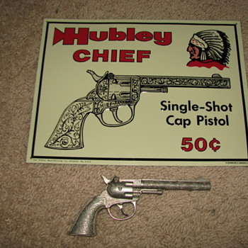 Hubley Chief  Tin Sign and Cap Gun - Signs