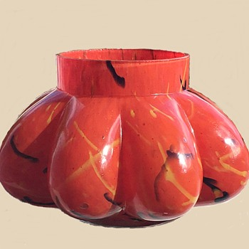 "Czech Glass Rückl/Kralik Question 1: Large Red Peloton Pumpkin Glass Jar 8""x4"""