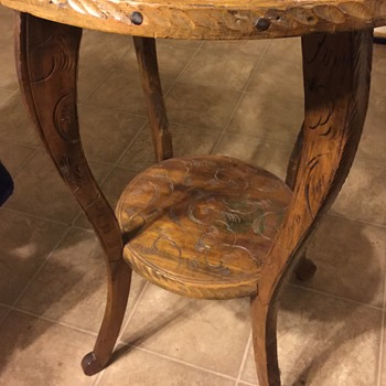 Old wood carved table no markings - Furniture