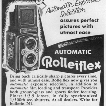 1954 - Rolleiflex Camera Advertisement - Advertising