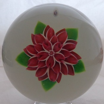 Baccarat Dahlia Rose Paperweight - Art Glass