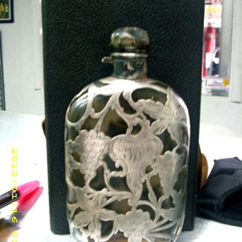"Silver over Glass Flask 6 5/8"" tall - Bottles"