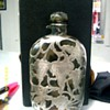 "Silver over Glass Flask 6 5/8"" tall"