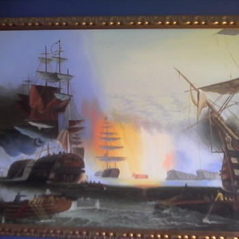 Battle Scene Oil on Canvas - Visual Art