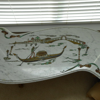 Carrera Italian marble coffee table with Venice scene - Furniture