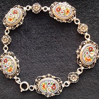 Micro Mosaic Flower 800 Silver Bracelet