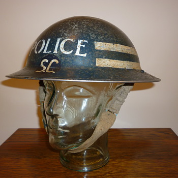 British WWII Special Constable Sergeant Police steel helmet. - Military and Wartime