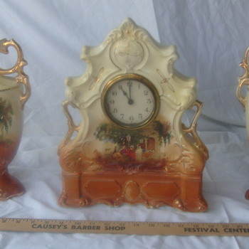 19th Century Clock with matching vases