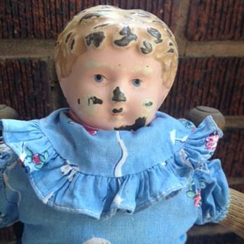 antique doll: metal head - Dolls