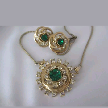 Emerald Parure Possibly Juliana? - Costume Jewelry