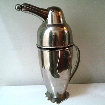 "Reproduction ""Napier"" 1936 Penguin Martini Cocktail Shaker and Server/ Stainless Steel/ Circa 20th Century"