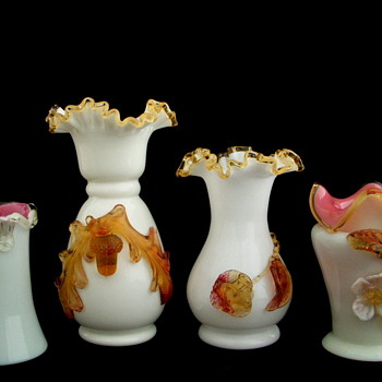 A Collection of Bohemian and English Applied Glass Vases